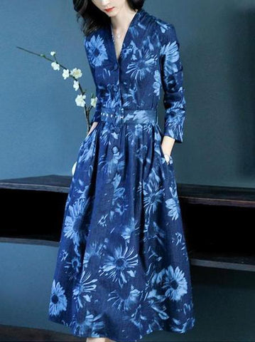 PMS Maxi Dresses blue / s Sexy Denim Long   Sleeves Floral Print Maxi Dress