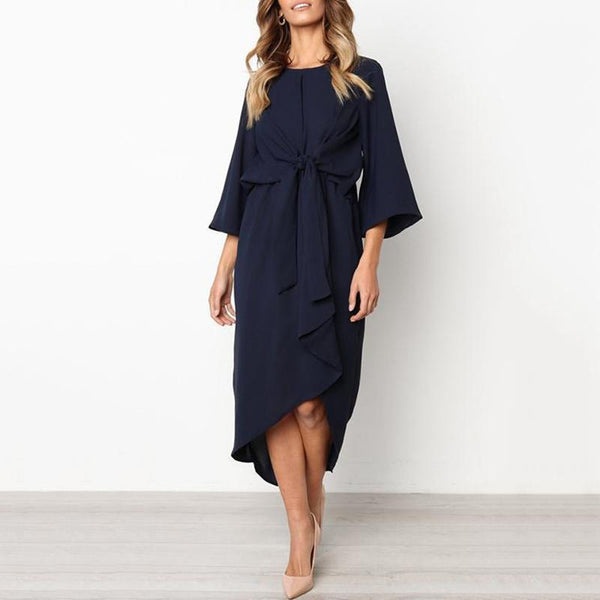 PMS Maxi Dresses Dark Blue / s Elegant Pure Color Bow Long Sleeve Evening Dress