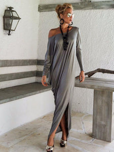 PMS Maxi Dresses Dark Grey / s One Shoulder Slit Long Sleeve Maxi Dresses