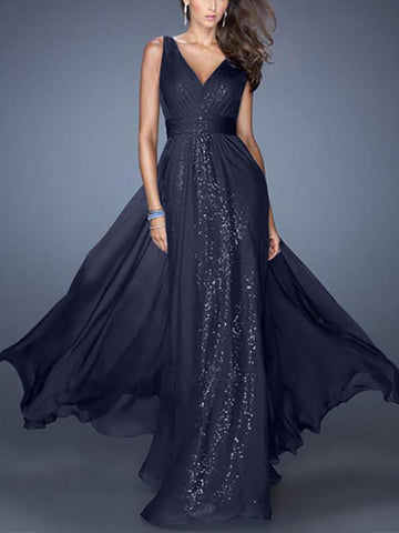 PMS Maxi Dresses dark_navy / s Sexy V Neck Bare Back Evening Dress