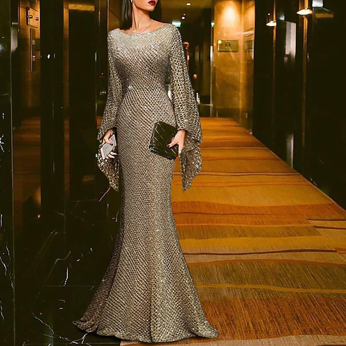 PMS Maxi Dresses Gold / s Elegant Silver Trumpet Sleeve Sexy Fishtail Evening Dress