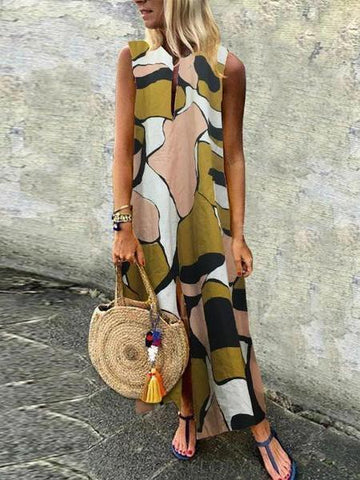 PMS Maxi Dresses Green / s Casual Cotton/Linen Printed Sleeveless Dress