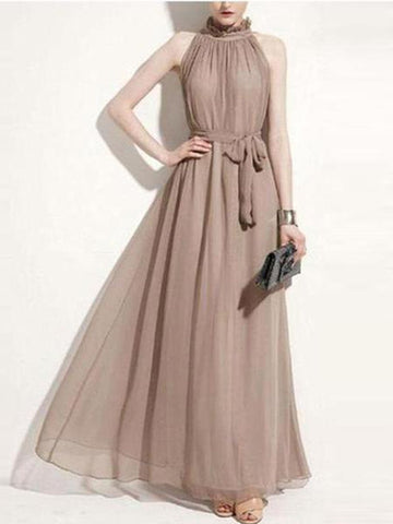 PMS Maxi Dresses Khaki / one size A Bohemian Gown With A Round Collar And A Chiffon Dress