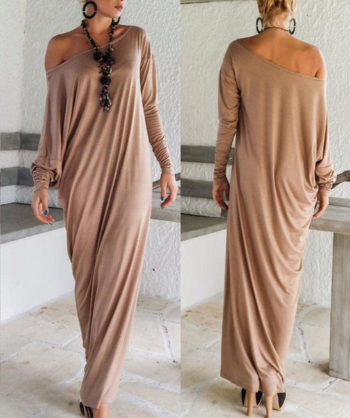 PMS Maxi Dresses Khaki / s One Shoulder Slit Long Sleeve Maxi Dresses
