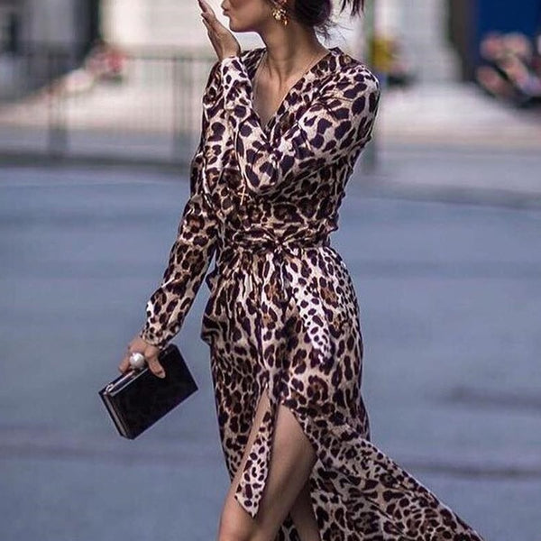 PMS Maxi Dresses Leopard Print / s Sexy Leopard Print Side Vented Long Sleeve Maxi Dresses
