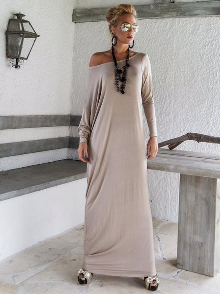 PMS Maxi Dresses Light Gray / s One Shoulder Slit Long Sleeve Maxi Dresses