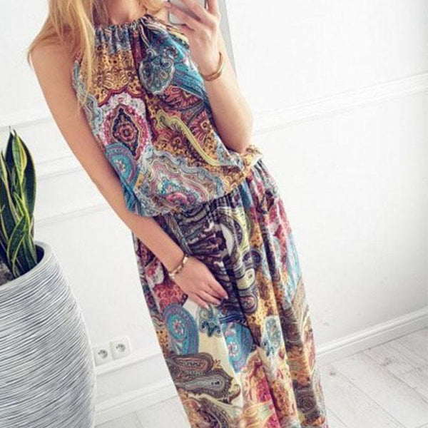 PMS Maxi Dresses Multi / s Halter  Printed  Sleeveless Vintage Dress Maxi Dresses