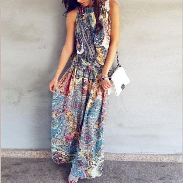 PMS Maxi Dresses Multi / xl Halter  Printed  Sleeveless Vintage Dress Maxi Dresses