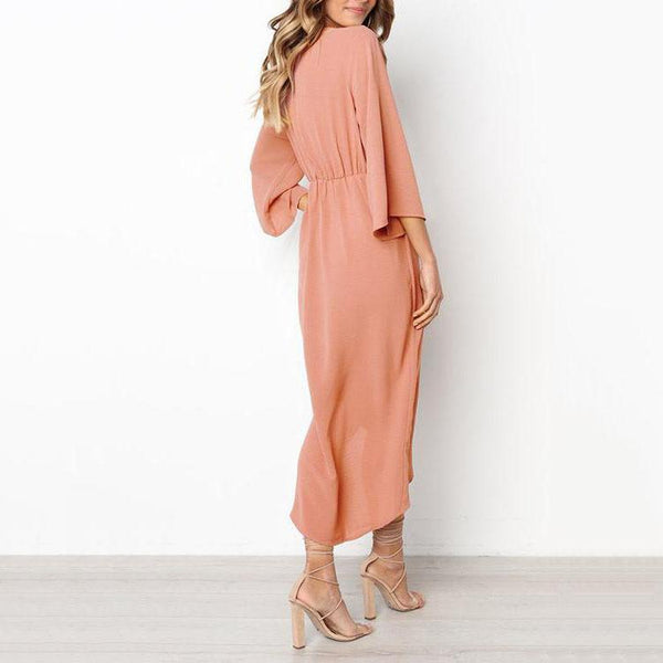 PMS Maxi Dresses Pink / s Elegant Pure Color Bow Long Sleeve Evening Dress