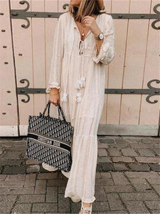 PMS Maxi Dresses Plunging Neckline Splicing Long Sleeve Dress