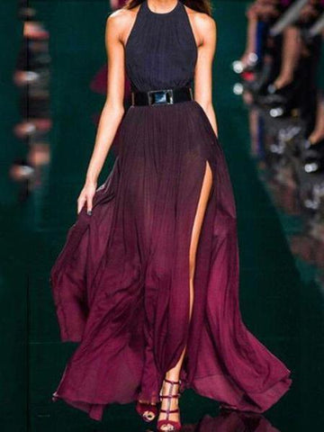 PMS Maxi Dresses purple / s Sexy Purple Halter Neck Sleeveless Maxi Dress