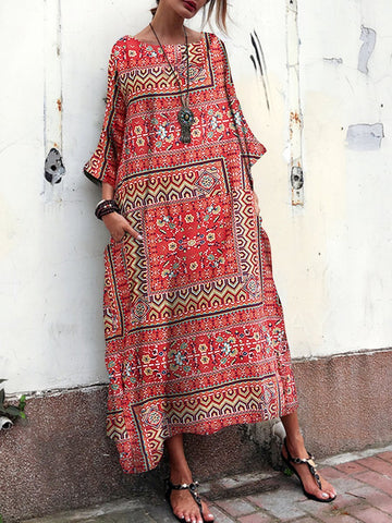 PMS Maxi Dresses Red / s Cotton And Linen Printed Ethnic   Style Short Sleeve Loose Vacation Dress