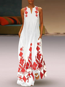 PMS Maxi Dresses Red / s Floral Printed Maxi Shift Dress