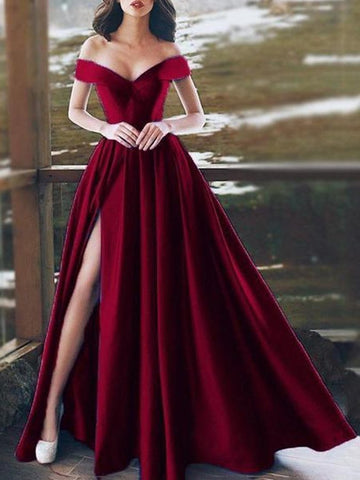 PMS Maxi Dresses Red / s Sexy Off-Shoulder V-Neck Evening Dress