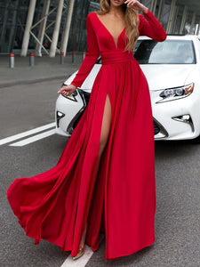 PMS Maxi Dresses Red / s V-Neck Long Sleevethe Sides Split Maxi Dress