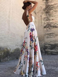 PMS Maxi Dresses Same As Photo / 2xl Sexy New Backless Floral Print Maxi Dress