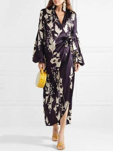 PMS Maxi Dresses same_as_photo / l Sexy V-Collar With Printed Long-Sleeved Loose Dress