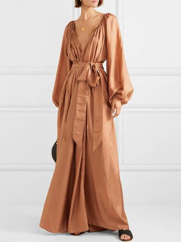PMS Maxi Dresses Same As Photo / m Flash Sale Sexy Deep V Neck With Long-Sleeved Maxi Dress
