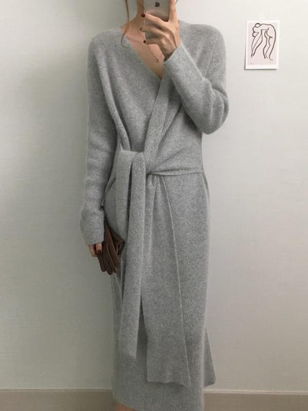 PMS Maxi Dresses Same As Photo / one size Fashion V Neck Cross Bandage Slim Knitted Dresses