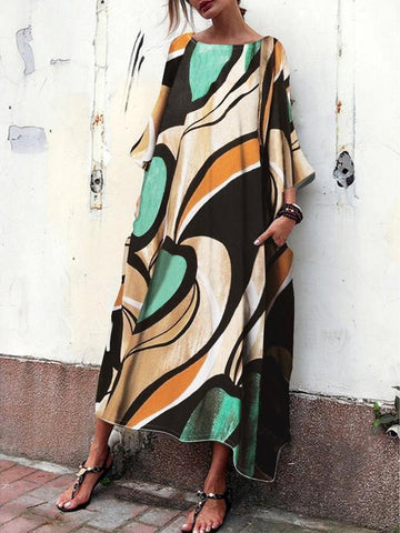PMS Maxi Dresses Same As Photo / s Baggy And Fashionable Print Maxi Dress