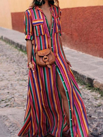 PMS Maxi Dresses same as photo / S Button Down Collar  Stripes  Roll Up Sleeve  Half Sleeve Maxi Dresses
