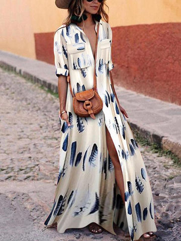 PMS Maxi Dresses Same As Photo / s Down Collar Half Sleeve Maxi Dresses