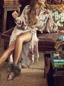 PMS Maxi Dresses same_as_photo / s Elegant Fashion Loose Floral Button V Collar Long Sleeve Fork Maxi Dress