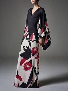 PMS Maxi Dresses same_as_photo / s Elegant Fashion Slim Floral V Collar Flare Long Sleeve High Waist Maxi Evening Dress