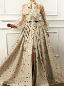 PMS Maxi Dresses Same As Photo / s Fashion Elegant Lace-Up Transparent Spotty Long Sleeves Maxi Dress