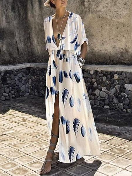 PMS Maxi Dresses Same As Photo / s Fashion Short Sleeves Floral Print Maxi Dress