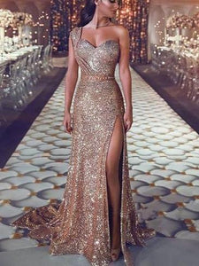 PMS Maxi Dresses Same As Photo / s Sexy One Shoulder  Sequined Evening Dress