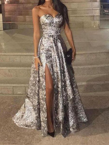 PMS Maxi Dresses Same As Photo / s Sexy Silver Sleeveless Sequins Fishtail Evening Dress