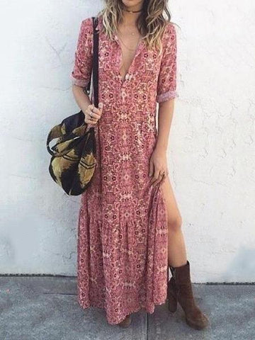 PMS Maxi Dresses Same As Photo / s Sexy V Neck Floral Printed Side Split Vacation Maxi Dress