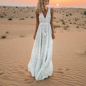 PMS Maxi Dresses White / 3xl V-Neck Printed Polka Dot Bohemian Maxi Dress
