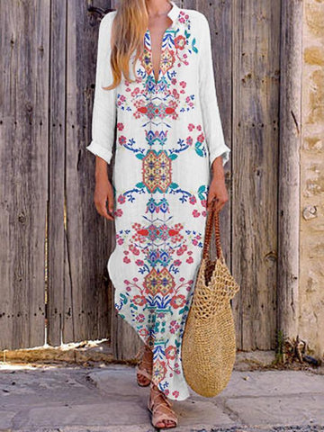PMS Maxi Dresses White / s Bohemian Printed Stretch Cotton/Line V-Neck Dress