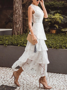 PMS Maxi Dresses White / s Casual Sexy Lace   Splicing Hollow Out Perspective Maxi Dresses