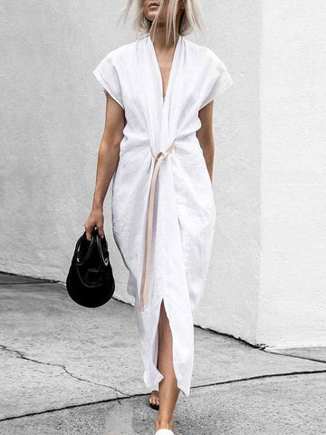 PMS Maxi Dresses White / s Chic V Collar Plain Belted Slit Maxi Dress