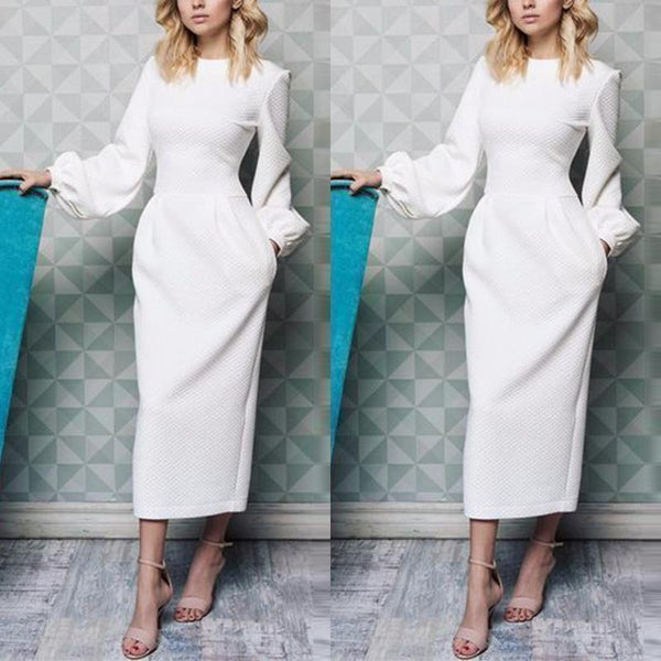 PMS Maxi Dresses White / s Elegant Plain Lantern Sleeve Round Neck Maxi Dress