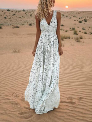 PMS Maxi Dresses White / s V-Neck Printed Polka Dot Bohemian Maxi Dress