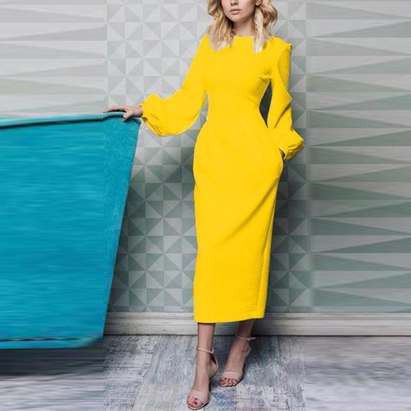 PMS Maxi Dresses Yellow / s Elegant Plain Lantern Sleeve Round Neck Maxi Dress