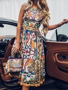 PMS Maxi Dresses Yellow / s Round-Necked Sleeveless Vintage Print Maxi Dress