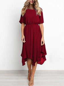 PMS Midi Dresses Red / S Short Sleeve Elastic Waist Chiffon Irregular Hem Swing Casual Dress