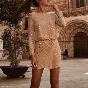 PMS Mini Dresses Khaki / s Sexy Sequin Long Sleeve Bodycon Dress Mini Dress