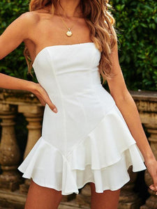 PMS Mini Dresses White / s Off-The-Shoulder Halter Ruffled Sexy Mini Dress