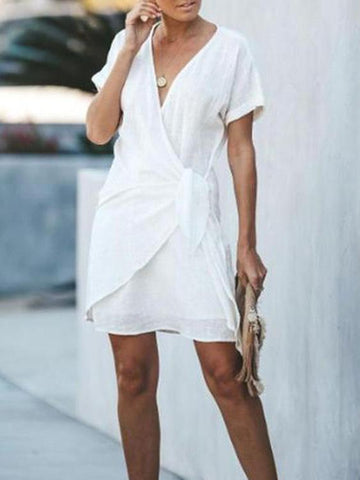 PMS Mini Dresses White / s V-Neck Cross Short Sleeved Casual Dress