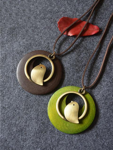 PMS Necklaces Coffee / one size Vintage ethnic wind wood bird pendant long necklace