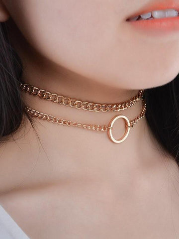 PMS Necklaces Gold / one size Metal chain clavicle necklace