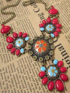 PMS Necklaces Red / one size Retro Multi-Color Bohemia Necklace