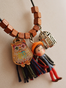 PMS Necklaces Same As Photo / one size Little girl fringed owl birdcage pendant sweater chain