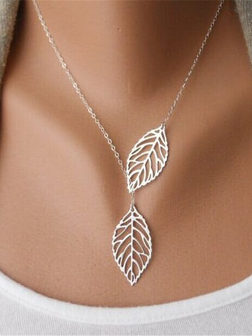 PMS Necklaces Silver / one size Fashion simple retro leaf necklace